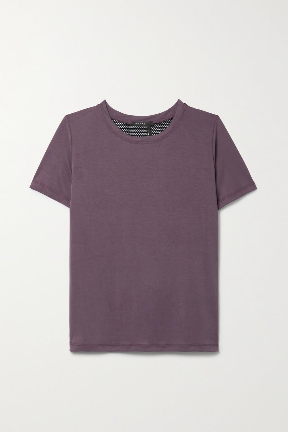 Koral Esra mesh-trimmed modal-blend jersey T-shirt