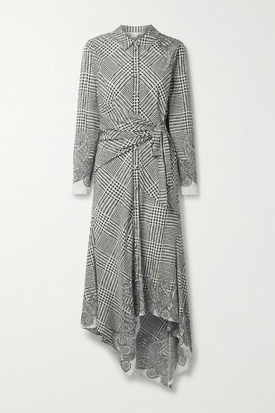 Veronica Beard ONDINE ASYMMETRIC PRINTED SILK-BLEND CREPE DE CHINE SHIRT DRESS