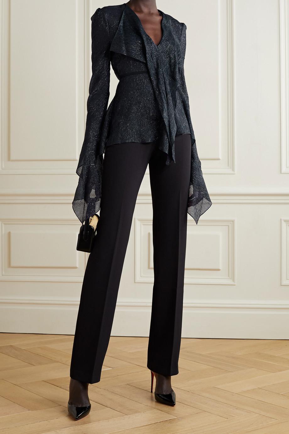 Roland Mouret Alcazar belted striped silk-blend chiffon blouse