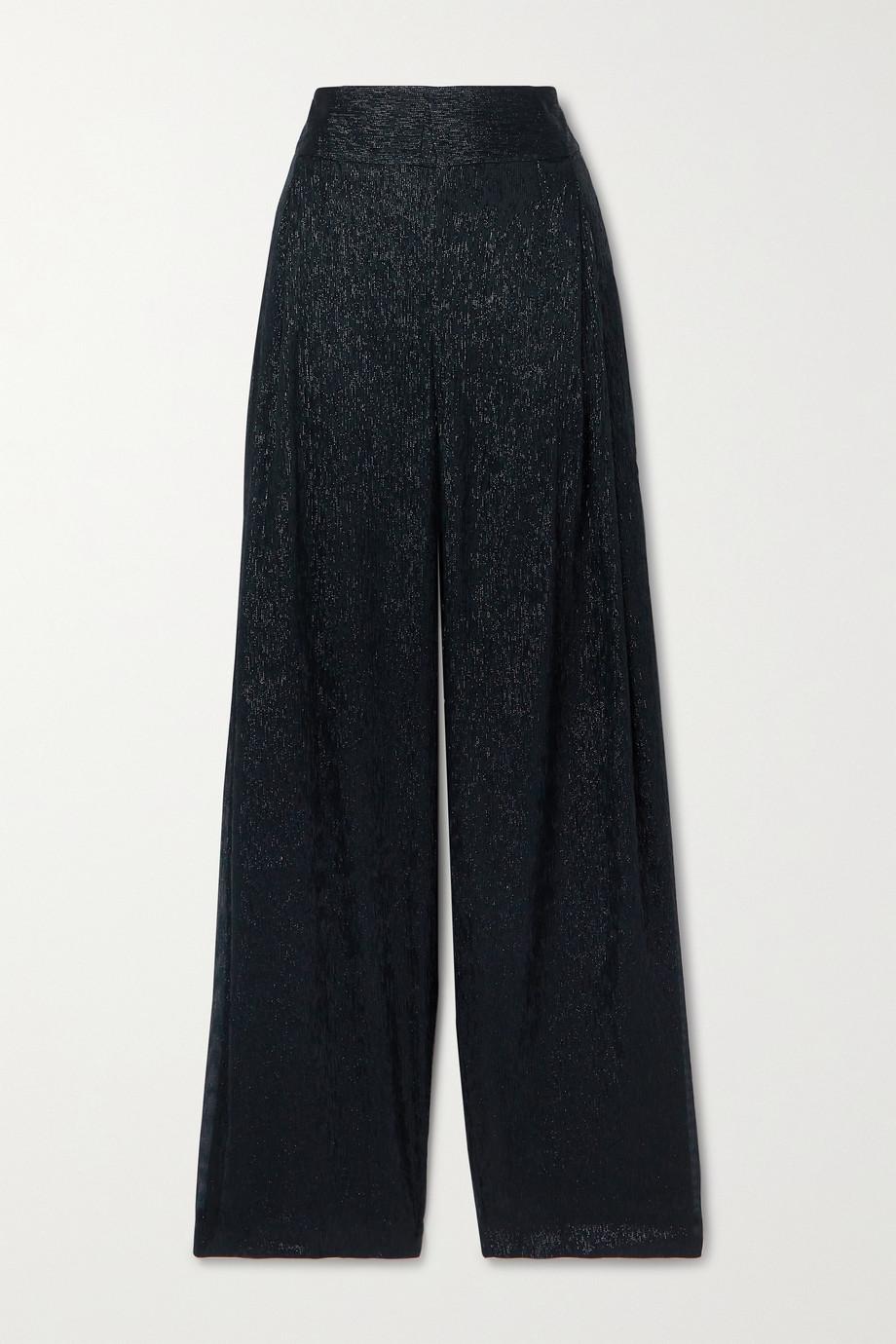 Roland Mouret Brunswick metallic silk-blend wide-leg pants