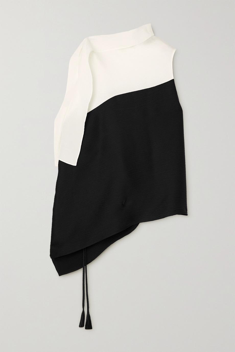 Roland Mouret Tavistock draped two-tone hammered stretch-silk top