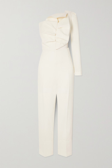 Roland Mouret Wools FRENSO ONE-SLEEVE BOW-DETAILED WOOL-CREPE JUMPSUIT