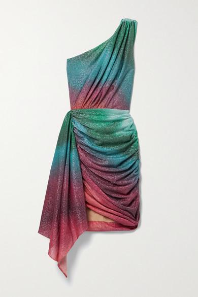 Patbo Mini dresses SUNSET ONE-SHOULDER DRAPED RUCHED OMBRÉ LUREX MINI DRESS