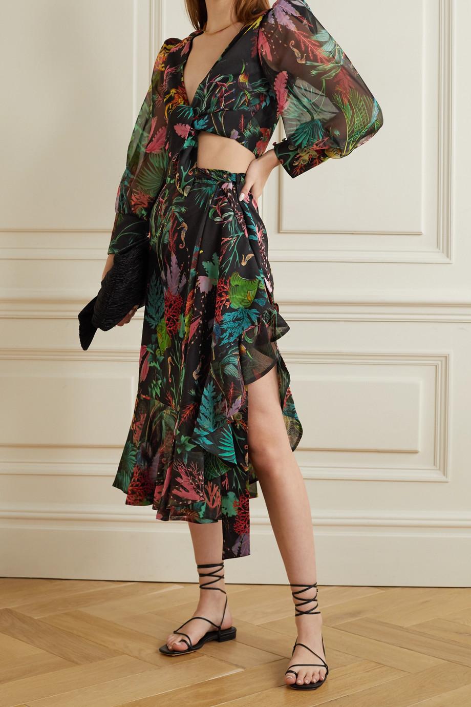PatBO Oasis ruffled printed chiffon wrap midi skirt