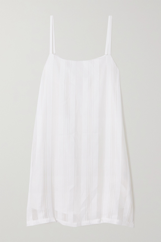 King & Tuckfield Striped cotton and silk-blend mini dress