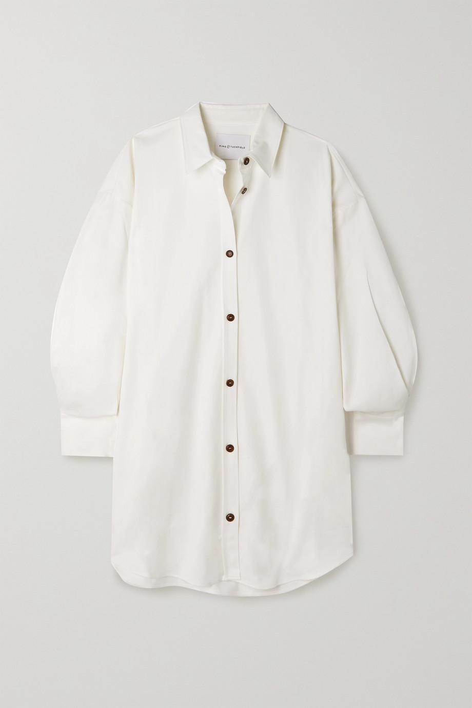 King & Tuckfield Mini-Hemdblusenkleid aus Twill aus einer Baumwoll-Lyocell-Mischung