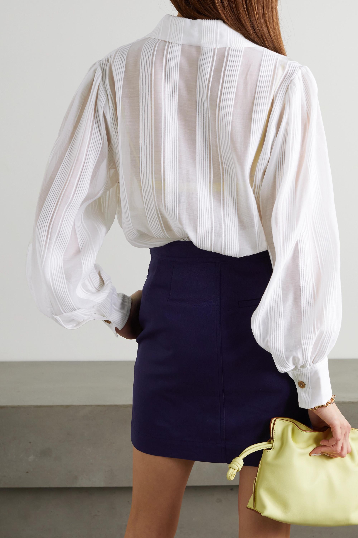King & Tuckfield Striped cotton and silk-blend shirt