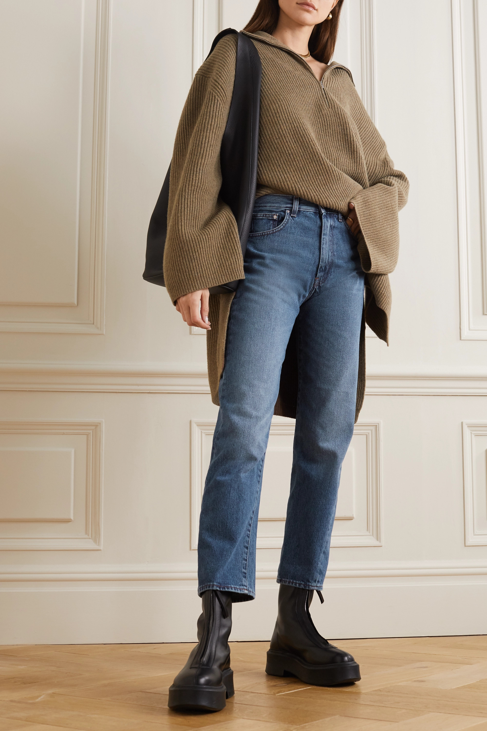 Totême Cropped high-rise straight-leg jeans