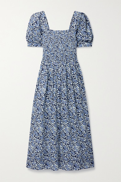 The Great THE SAVANNA SHIRRED FLORAL-PRINT COTTON-VOILE MIDI DRESS