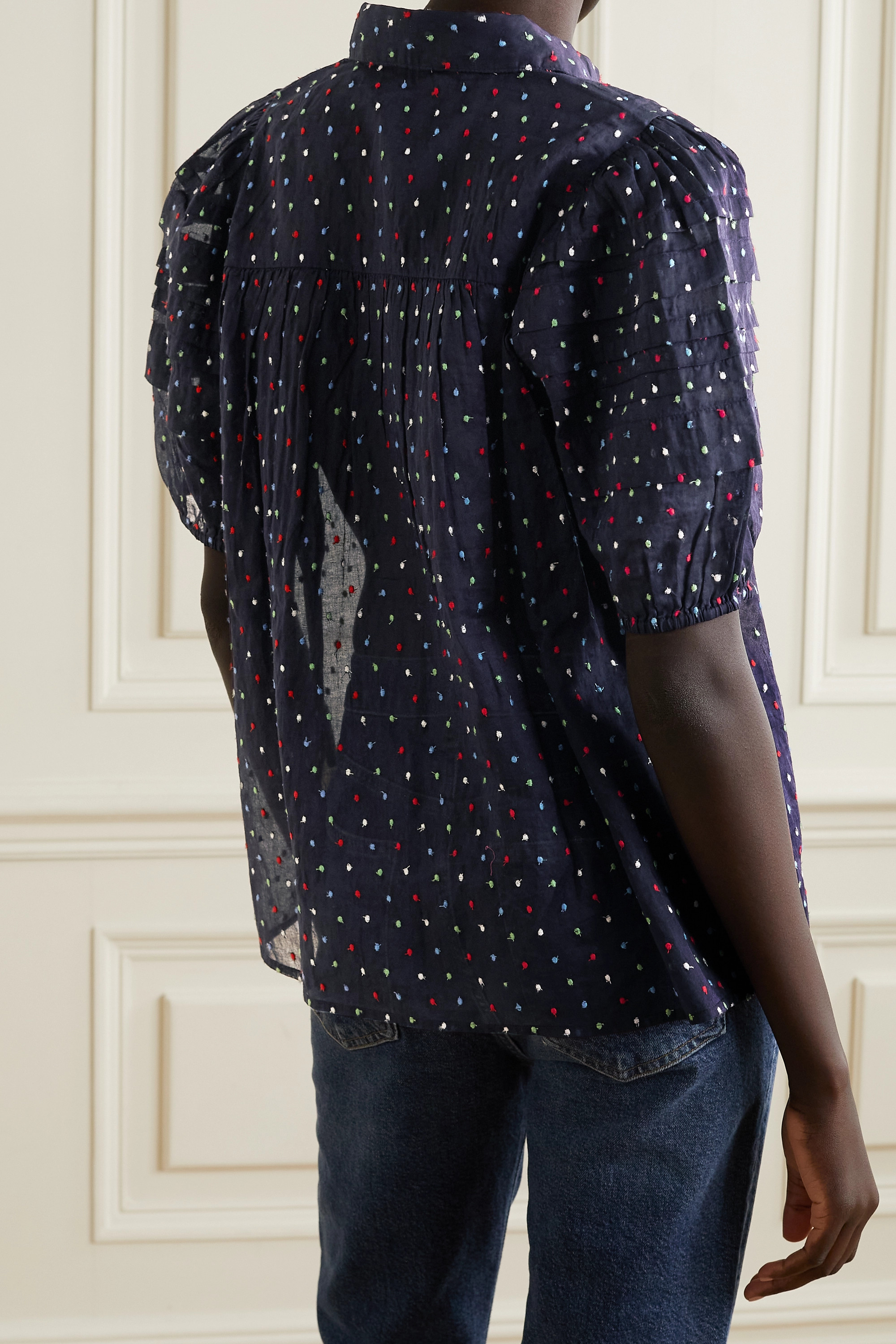 THE GREAT Cottons THE MARE EMBROIDERED SWISS-DOT COTTON-GAUZE BLOUSE