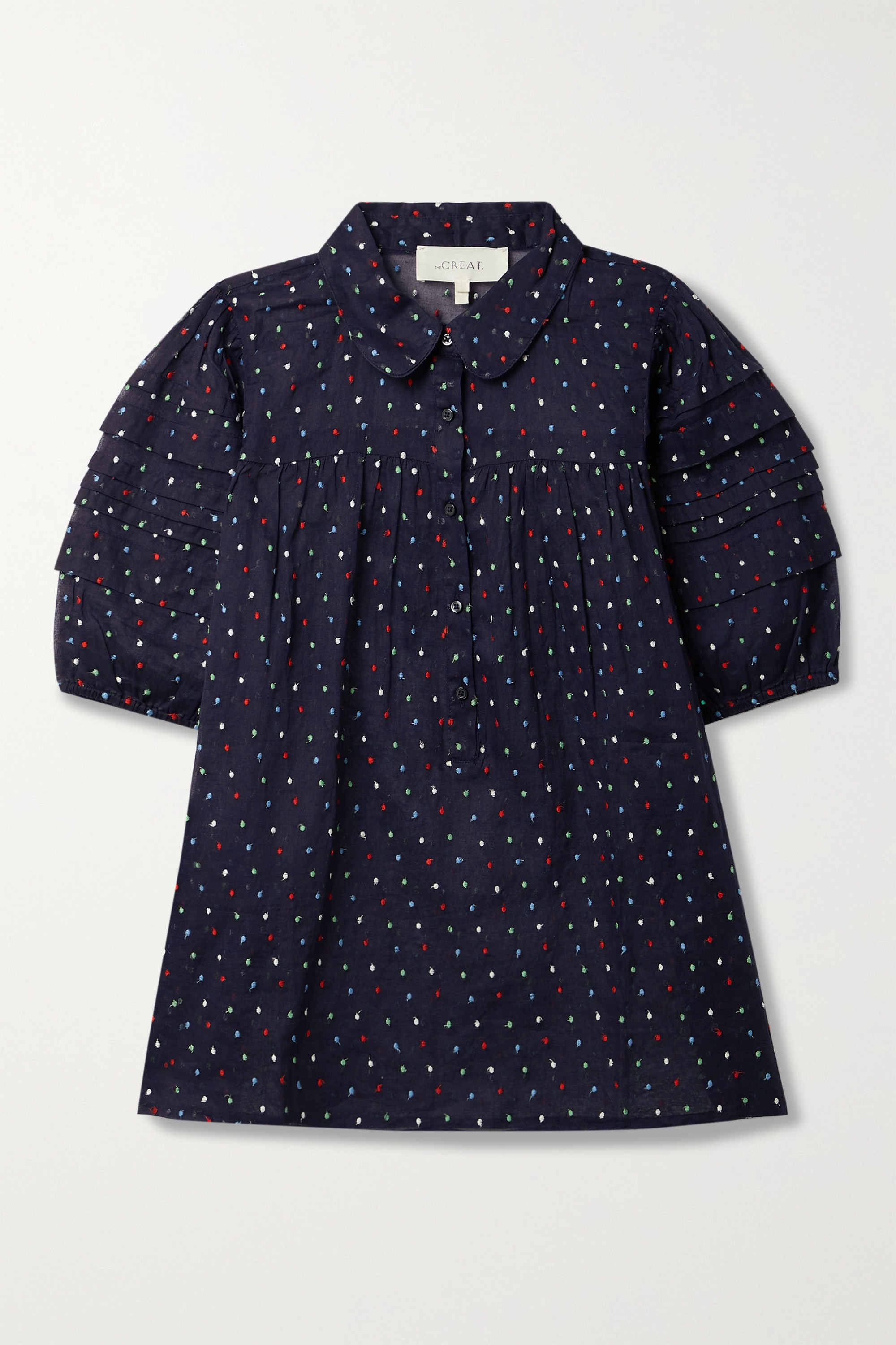 The Great THE MARE EMBROIDERED SWISS-DOT COTTON-GAUZE BLOUSE