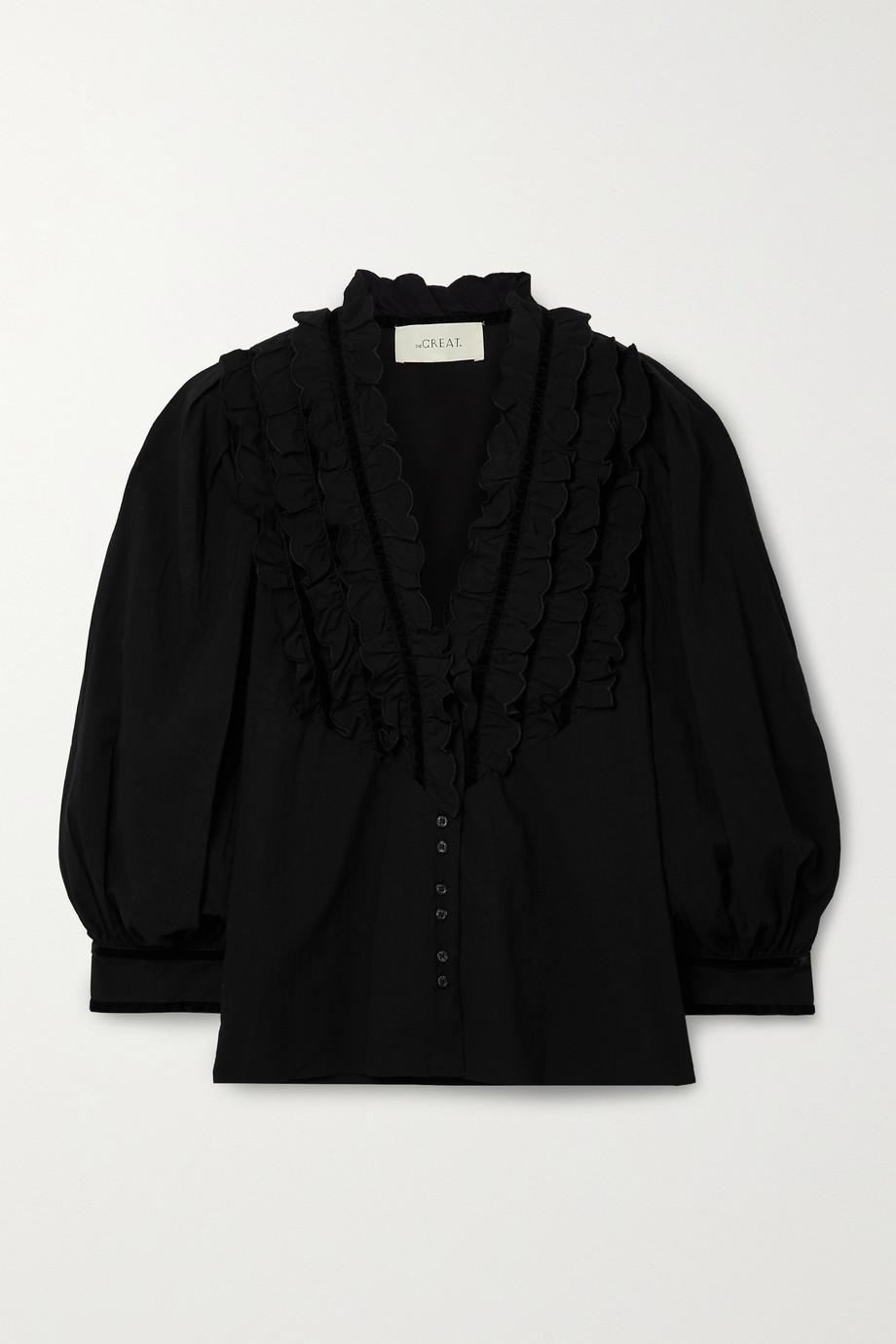 The Great The Tuxedo ruffled velvet-trimmed crinkled cotton-voile blouse