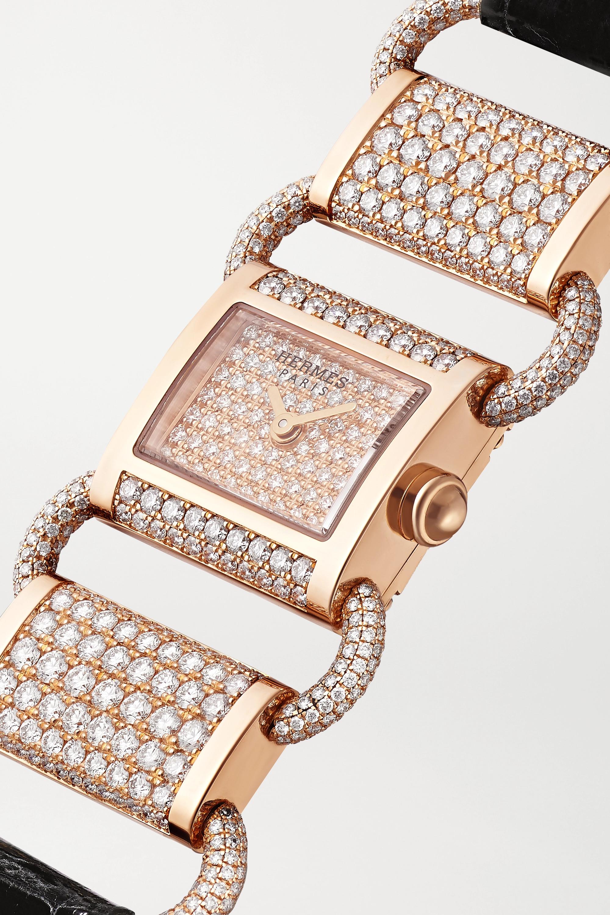 Hermès Timepieces Klikti 17mm very small 18-karat rose gold, alligator and diamond watch