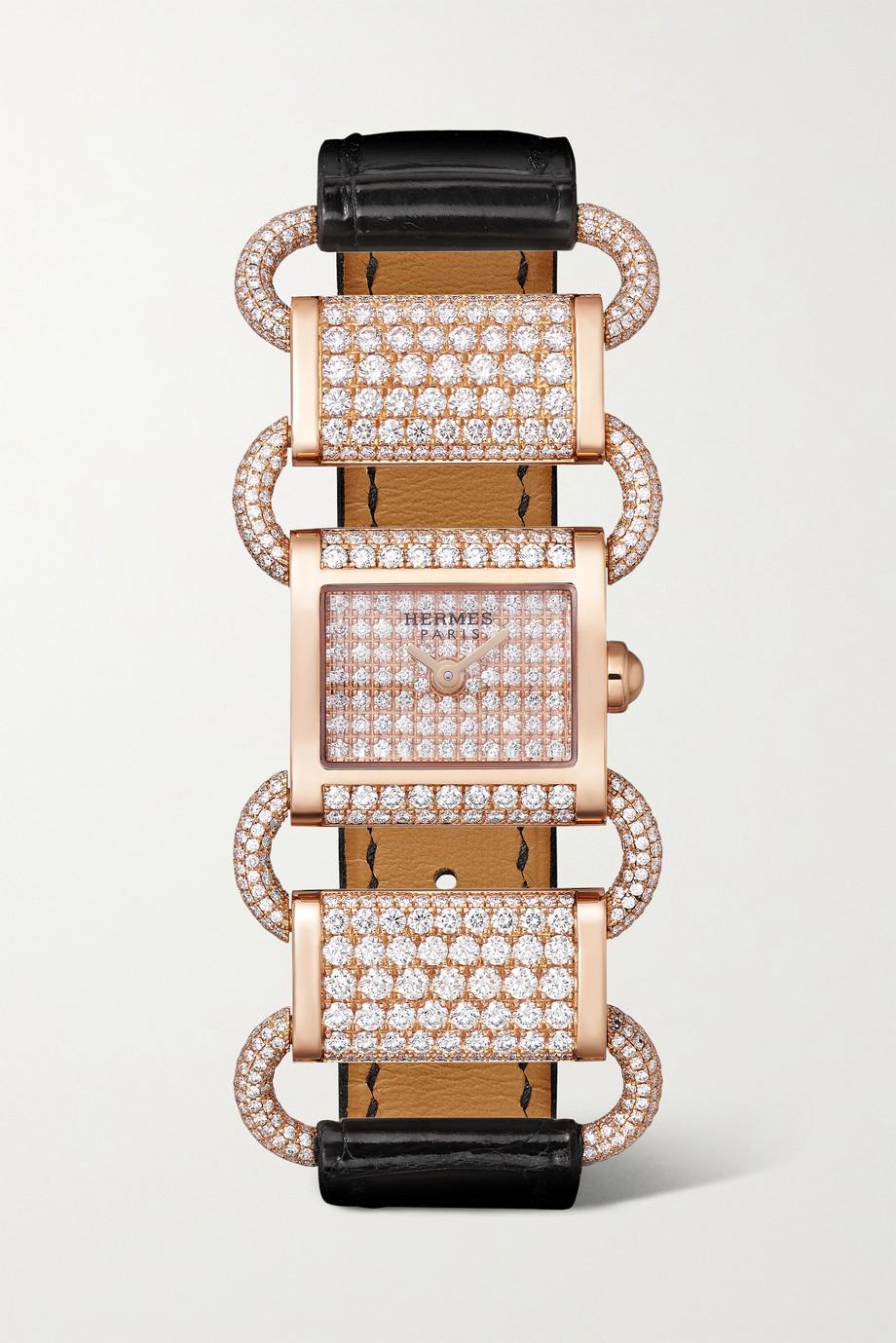 Hermès Timepieces Klikti 17 mm sehr kleine Uhr aus 18 Karat Roségold mit Diamanten und Alligatorlederarmband