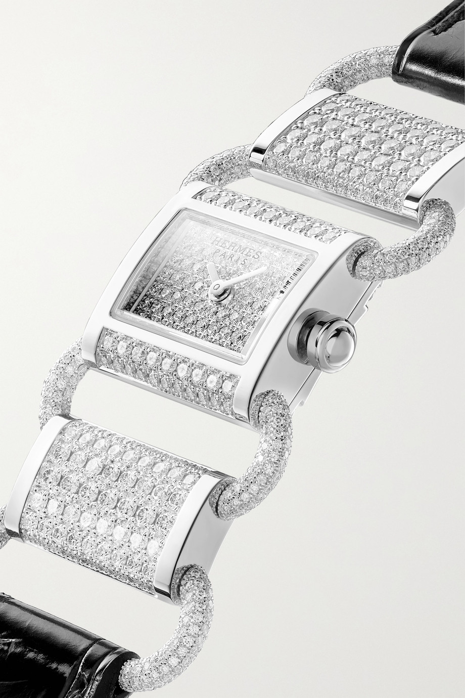 Hermès Timepieces Klikti 17mm very small 18-karat white gold, alligator and diamond watch