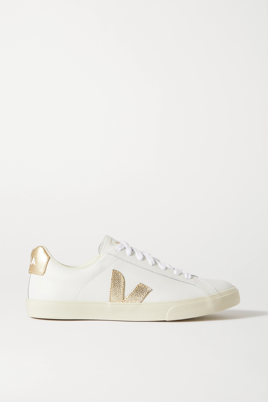 Veja + NET SUSTAIN Esplar metallic-trimmed leather sneakers
