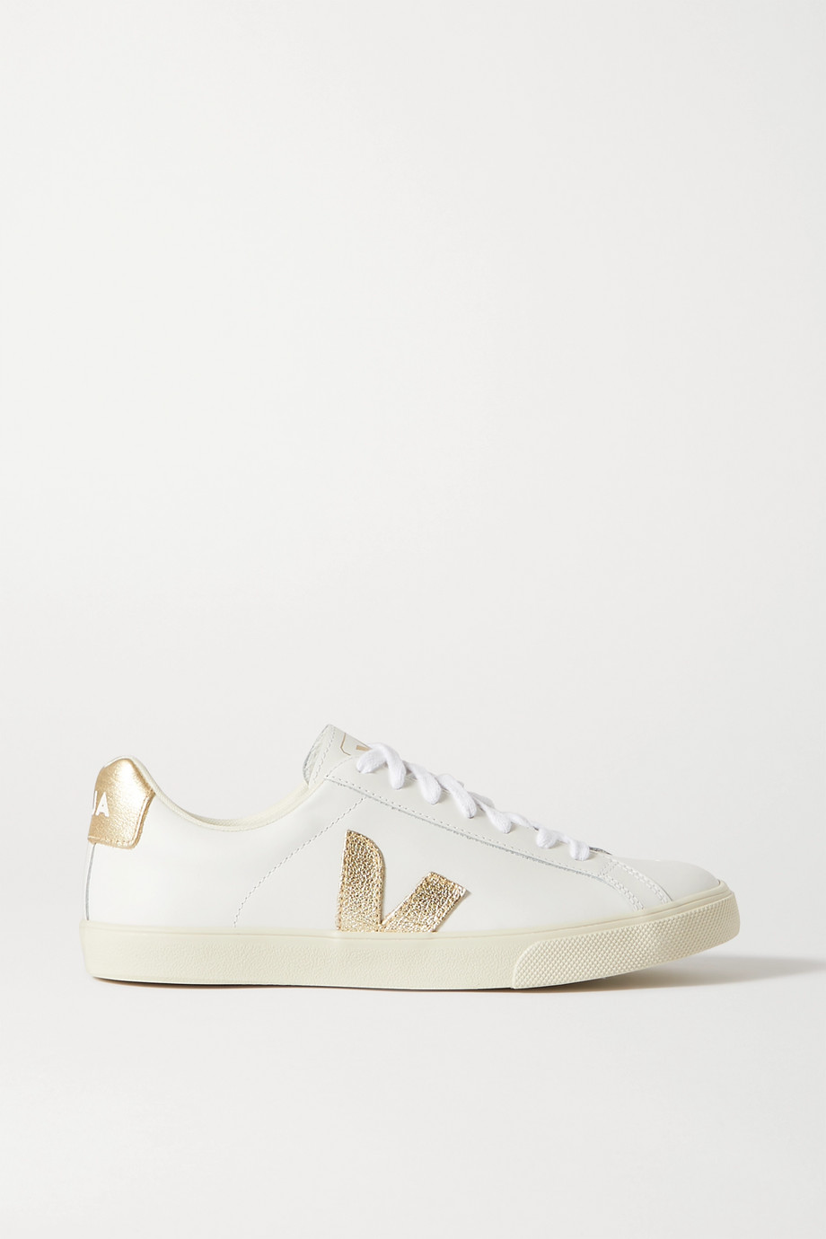 Veja + NET SUSTAIN Esplar metallic-trimmed leather sneakers
