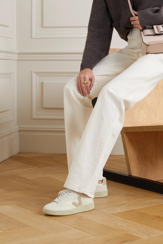 Veja + NET SUSTAIN V-12 suede-trimmed leather sneakers