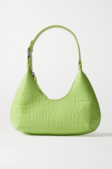 By Far Amber Baby Croc-effect Leather Tote In Green