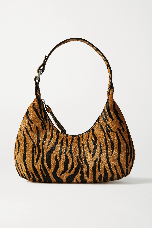 BY FAR - Amber Baby tiger-print calf hair tote