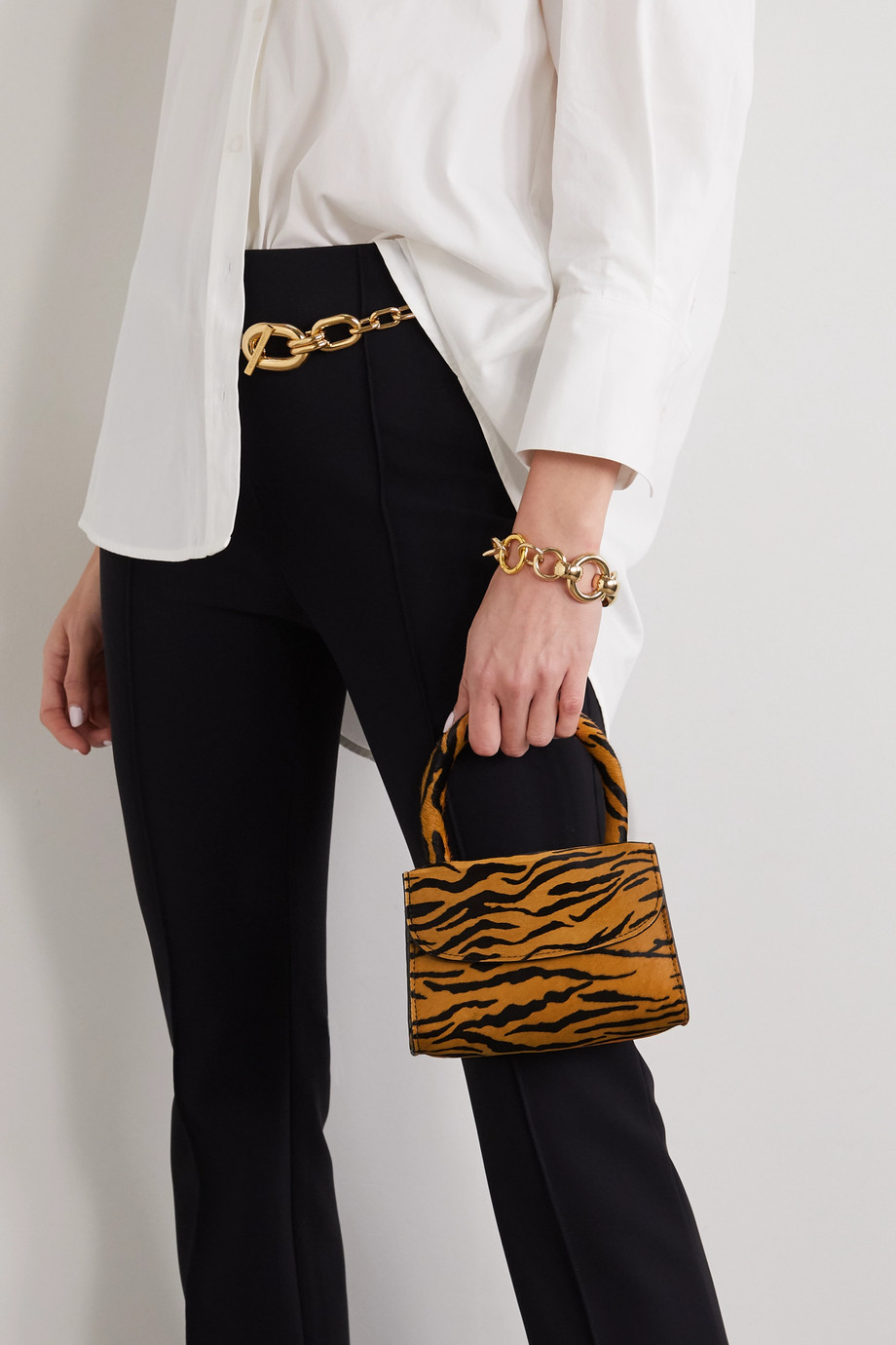 BY FAR Mini tiger-print calf hair tote