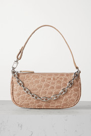 BY FAR Rachel mini chain-embellished croc-effect leather shoulder bag
