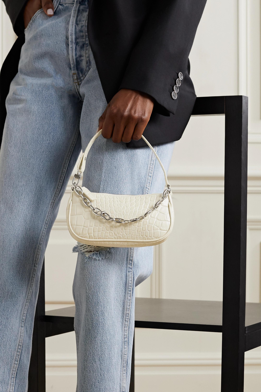 BY FAR Rachel mini chain-embellished croc-effect leather shoulder bag