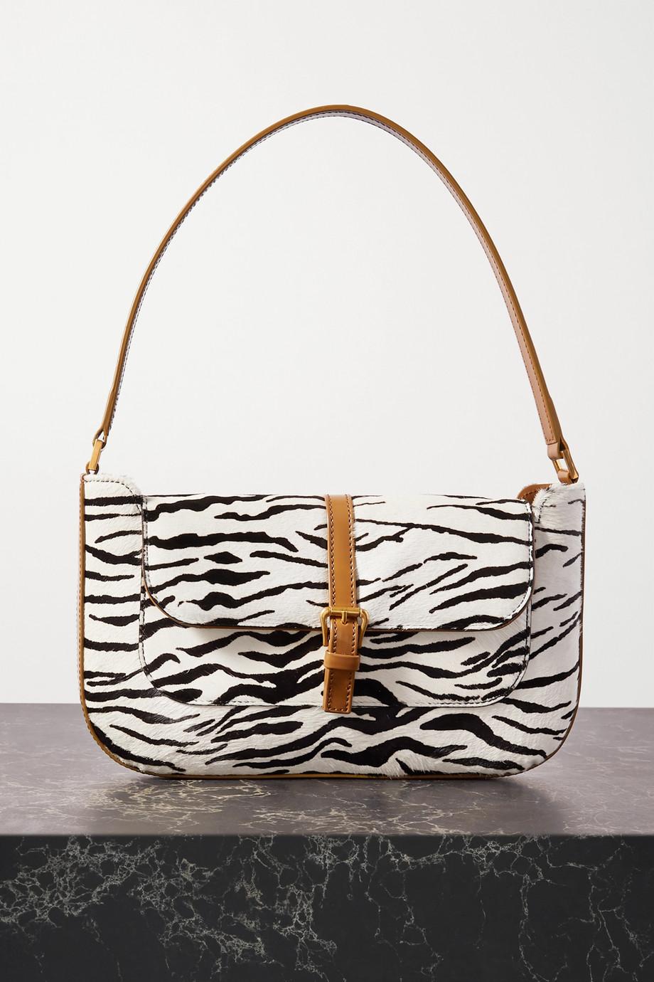 BY FAR Miranda leather-trimmed zebra-print calf hair shoulder bag