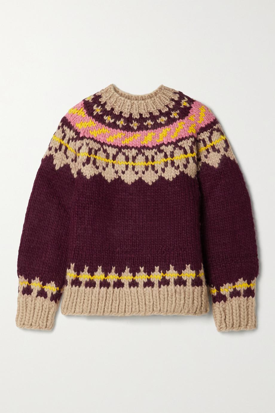 Tory Burch 费尔岛式杂色图案羊毛毛衣
