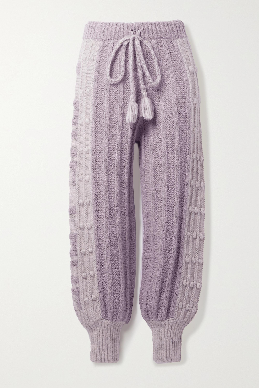 Loveshackfancy Landana striped knitted track pants