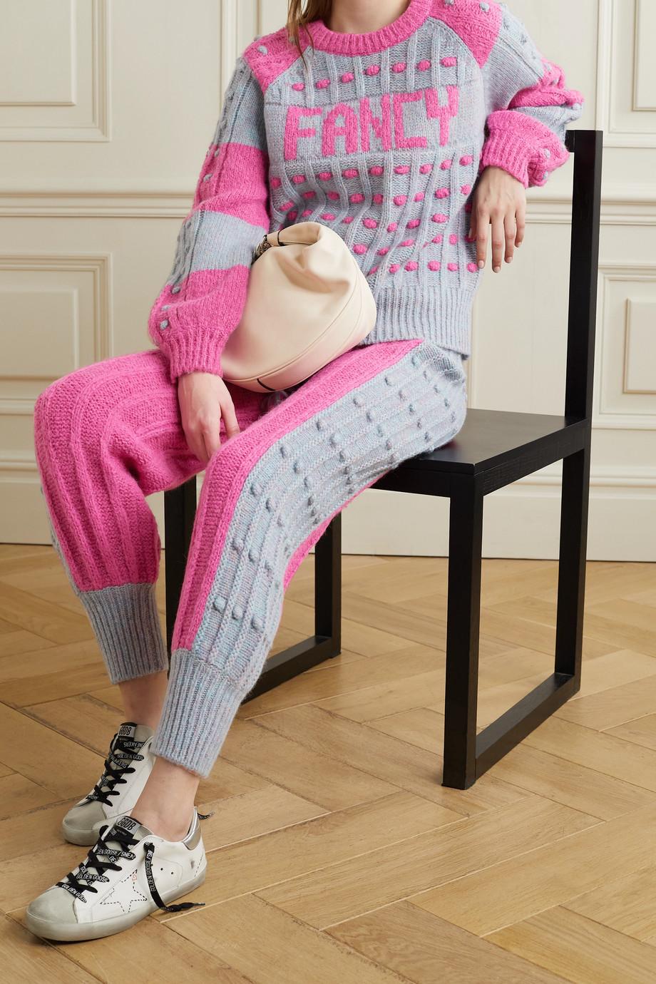 LoveShackFancy Pantalon de survêtement en mailles bicolores Landana