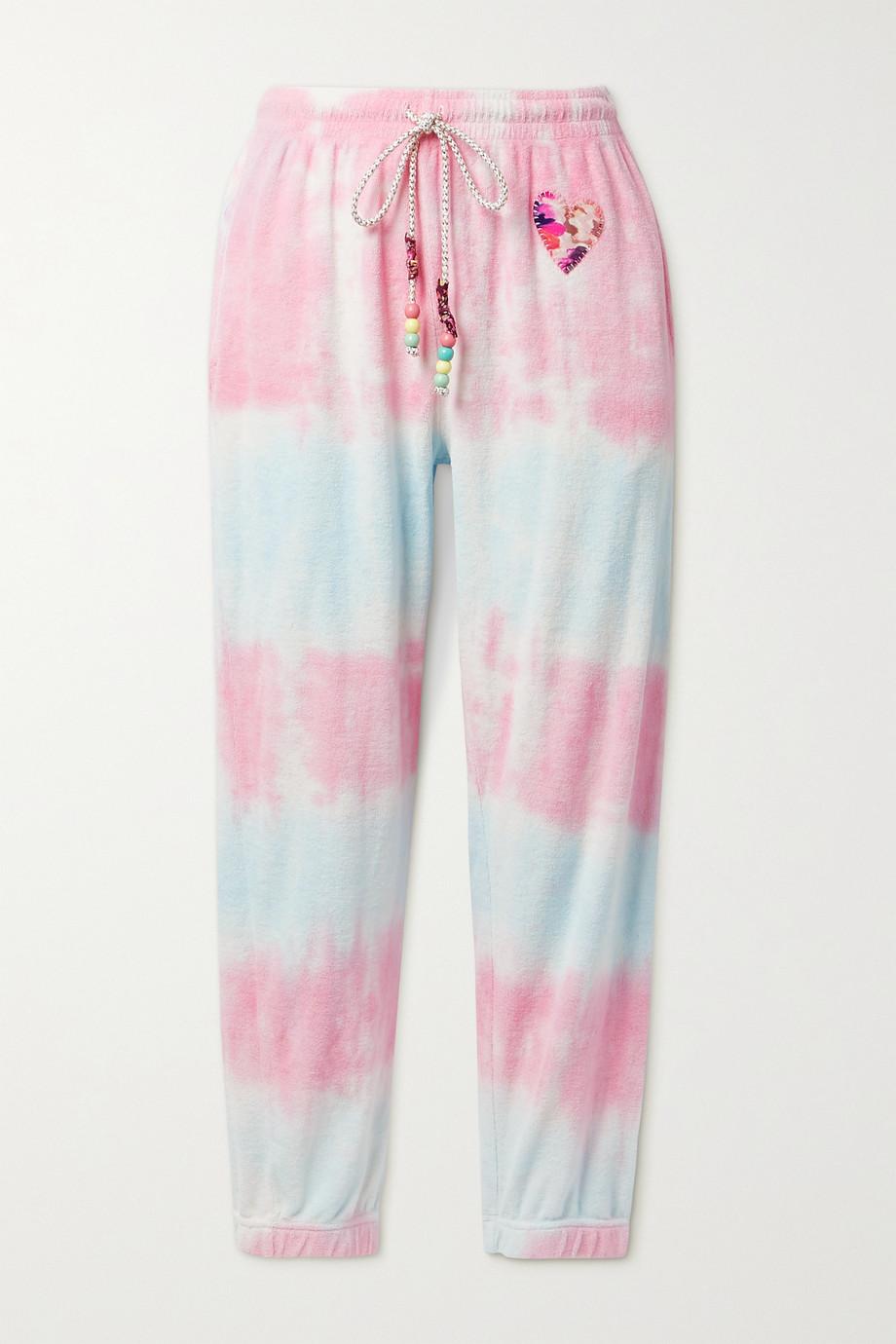 LoveShackFancy Pantalon de survêtement en molleton de coton tie & dye à appliqué et à perles Santinella