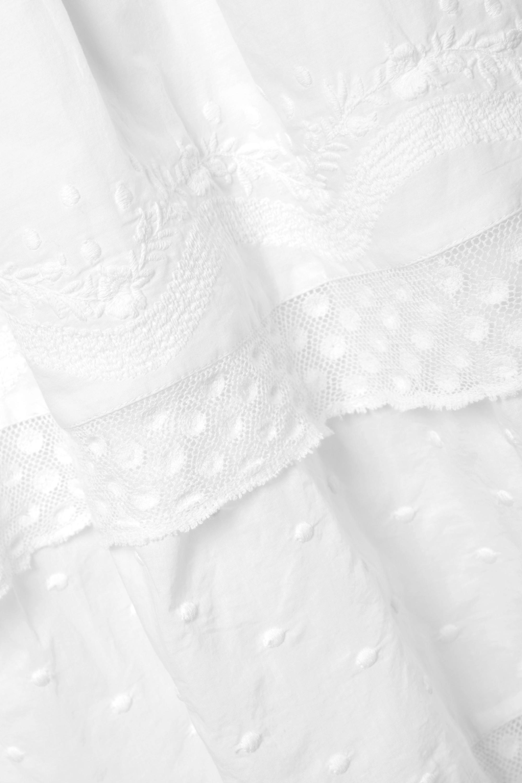 LoveShackFancy Robe longue en coton à broderies, à smocks et à superpositions Capella