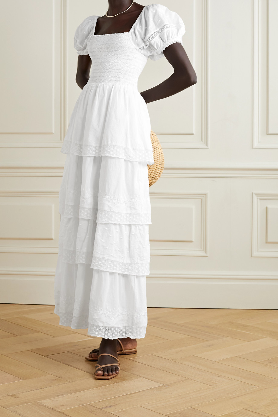 LoveShackFancy Capella tiered shirred embroidered cotton maxi dress