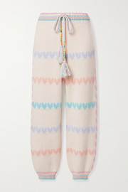 LoveShackFancy Chabela intarsia cotton-blend track pants