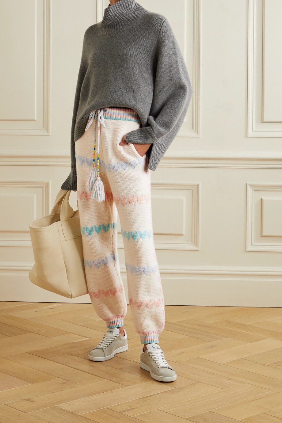 LoveShackFancy Chabela intarsia cotton-blend track pants