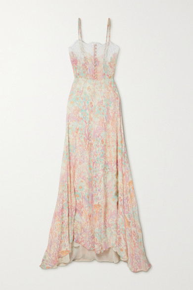 Loveshackfancy Elma Lace-trimmed Floral-print Crepon Maxi Dress In Pink