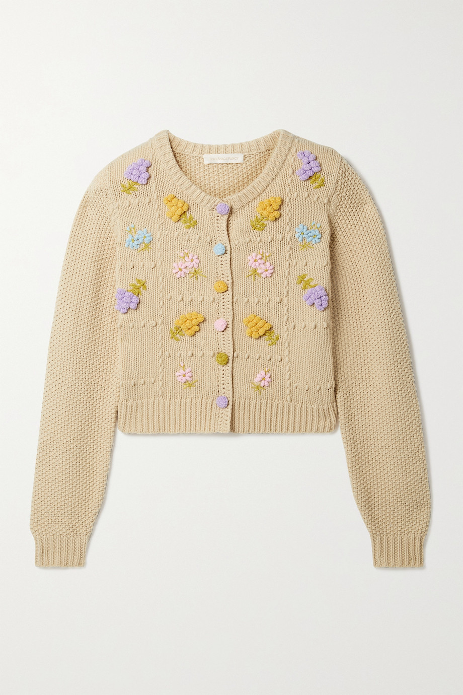 LoveShackFancy Briallon embroidered knitted cardigan