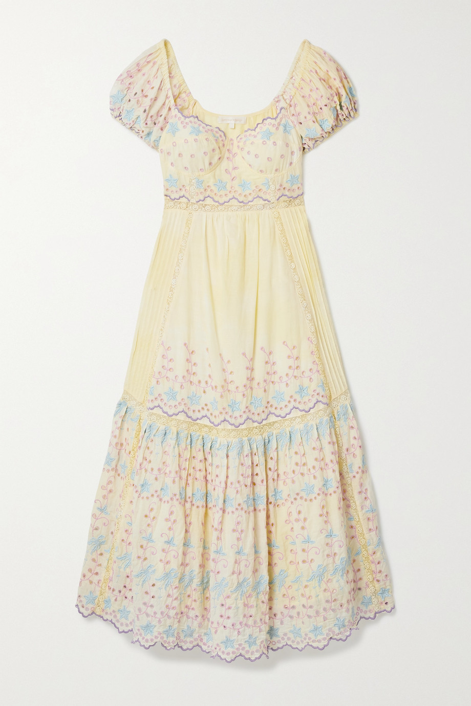LoveShackFancy Magena crocheted broderie anglaise cotton midi dress
