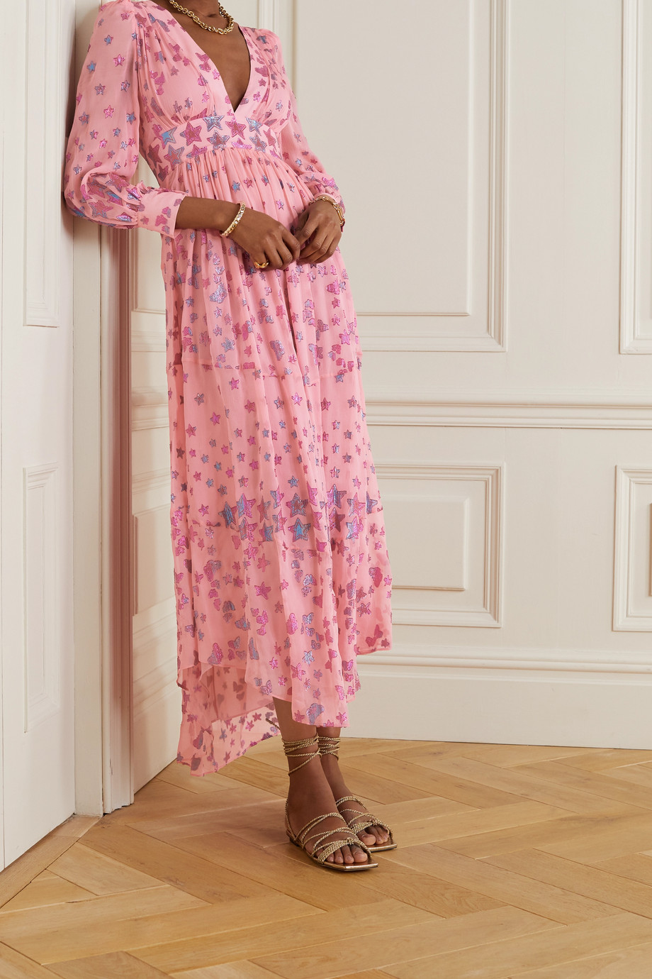 LoveShackFancy Cyrena fil coupé silk-blend georgette maxi dress
