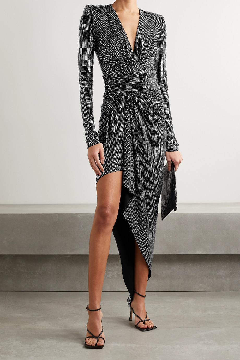 Alexandre Vauthier Asymmetric ruched crystal-embellished crepe dress