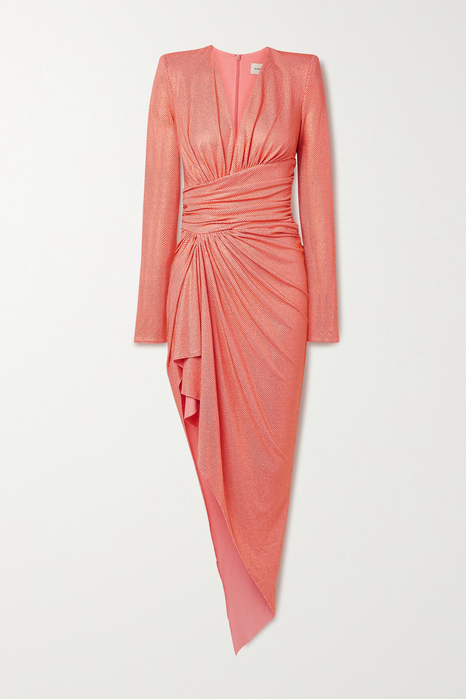 Alexandre Vauthier Asymmetric ruched crystal-embellished stretch-crepe dress
