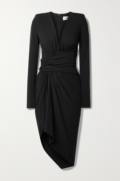Alexandre Vauthier Asymmetric Ruched Crepe Dress In Black