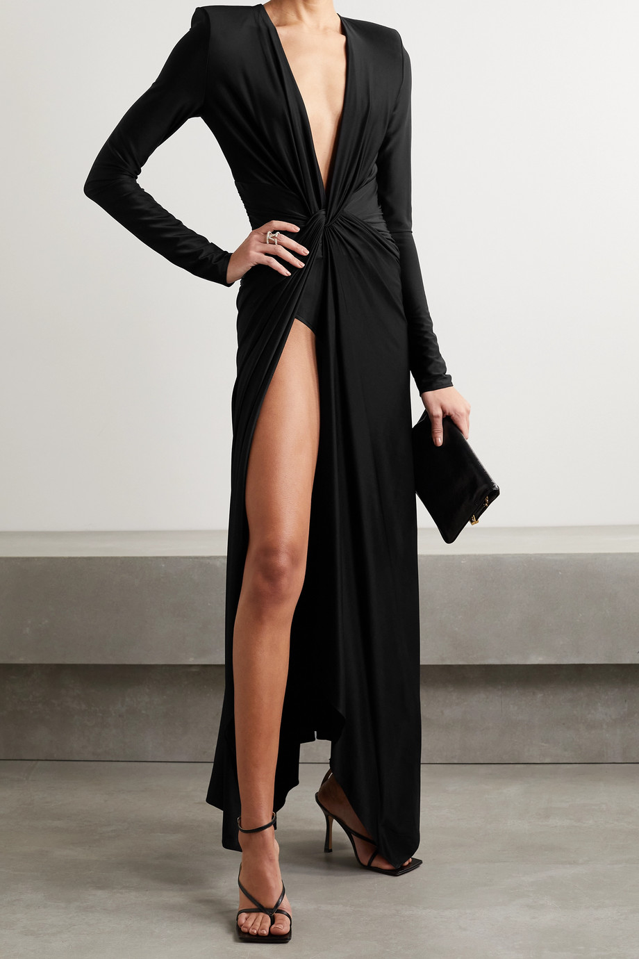 Alexandre Vauthier Twist-front ruched satin-jersey gown