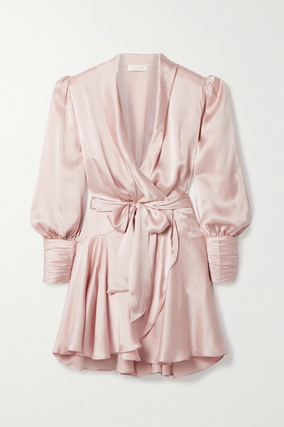 Zimmermann Mini-robe portefeuille en satin de soie