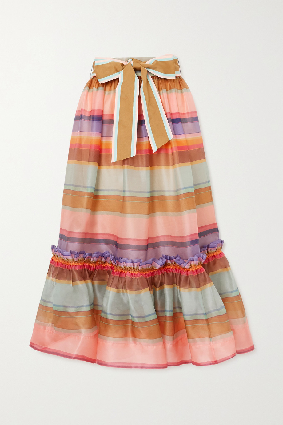 Zimmermann The Lovestruck ruffled striped silk-organza midi skirt