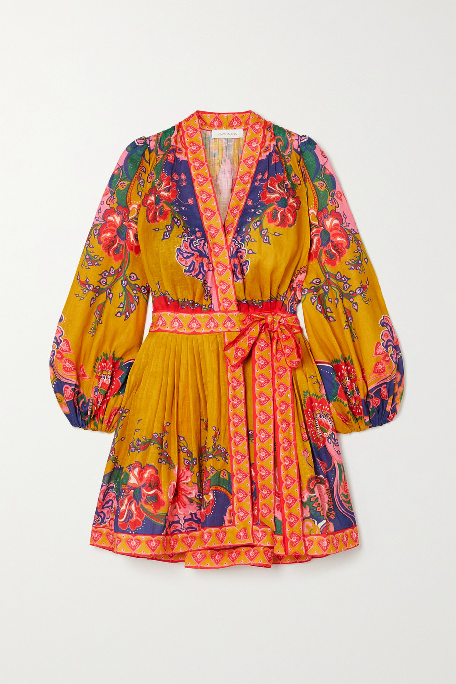 Zimmermann The Lovestruck printed linen wrap mini dress