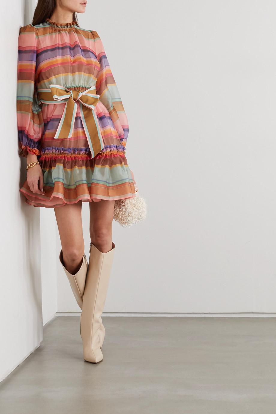 Zimmermann The Lovestruck belted striped silk-organza mini dress