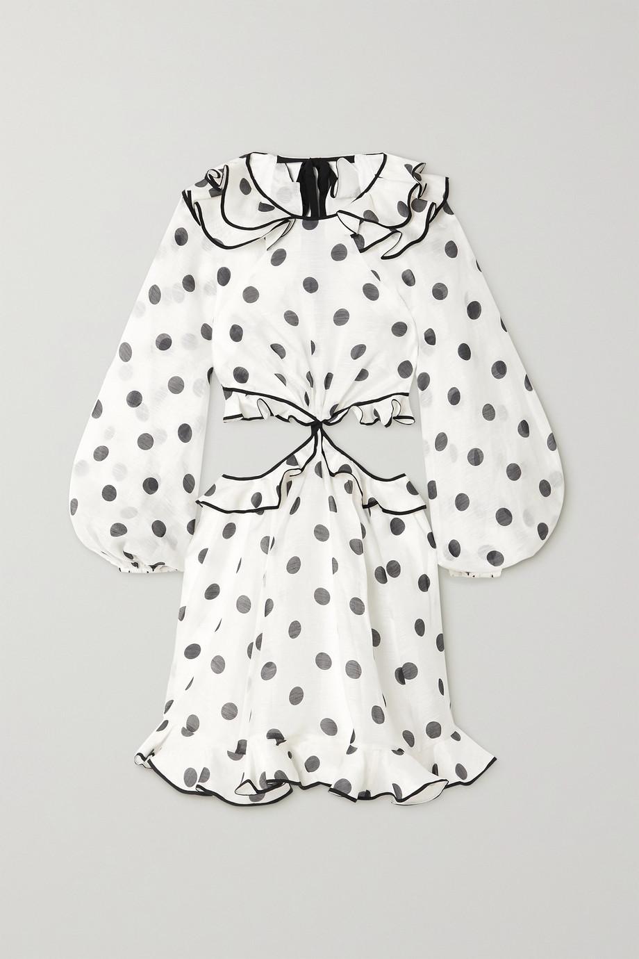 Zimmermann Mini-robe en organza de lin et de soie mélangés à pois The Lovestruck