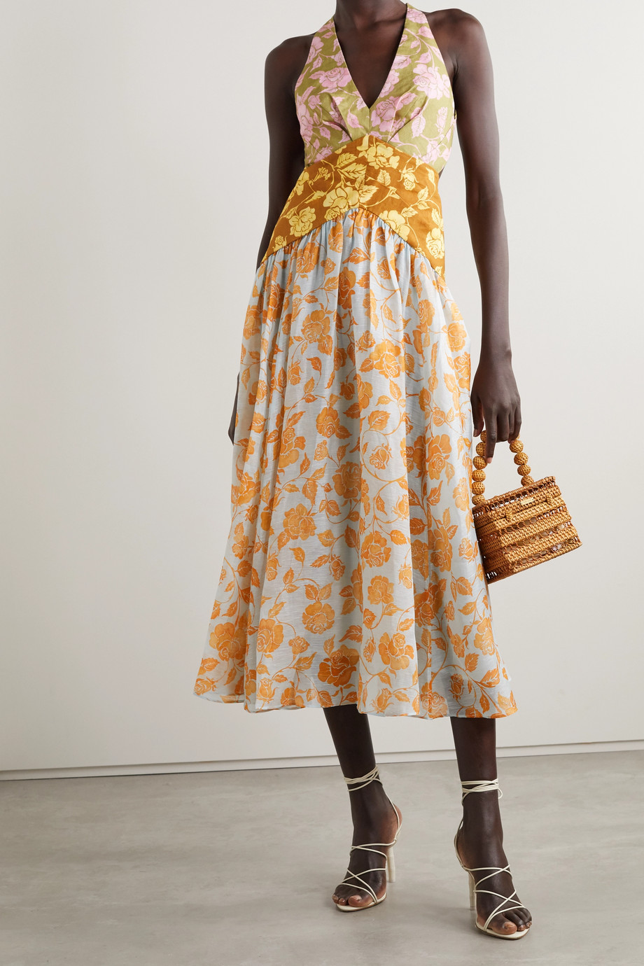 Zimmermann The Lovestruck floral-print linen halterneck midi dress